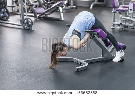 Hyperextension fitness and sport concept. woman work out at a gym with heavy weight