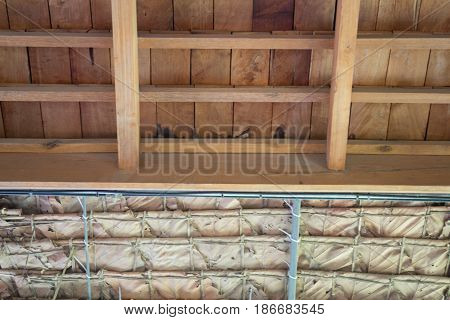 Traditional Architecture Of Dried Leaves Roof stock photo