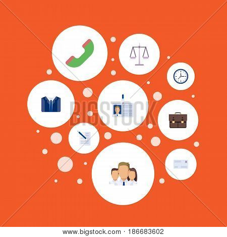 Flat Contract, Libra, Portfolio And Other Vector Elements. Set Of Career Flat Symbols Also Includes Phone, Portfolio, Handset Objects.