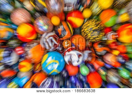 Blurred Background Of Marbles In Many Colors
