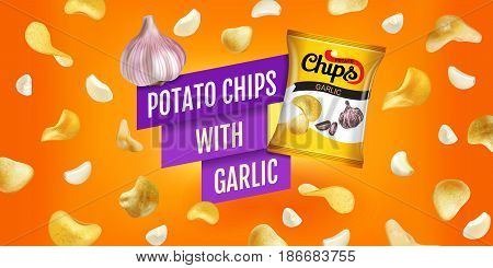 Potato chips ads. Vector realistic illustration of potato chips with garlic. Horizontal banner with product.