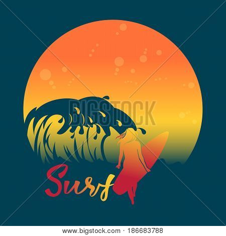 Banner invitation summer vacation.Big wave, sunrise, girl with surfboard and hand lettering Surf.T-shirt design.