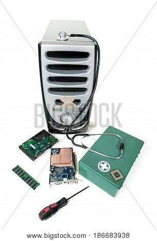 Repairing isolated on white computer parts hardware computer technology fix