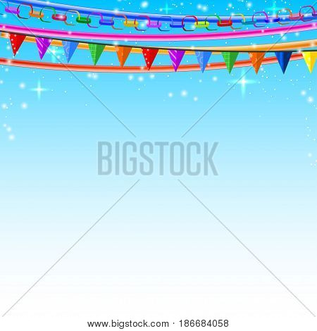 Colorful lace pins chains garlands on a blue background. Vector illustration.