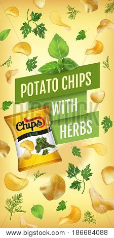 Potato chips ads. Vector realistic illustration with potato chips with herbs. Vertical banner with product.