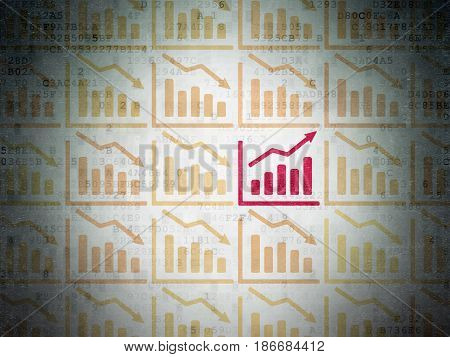 Finance concept: rows of Painted yellow decline graph icons around red growth graph icon on Digital Data Paper background