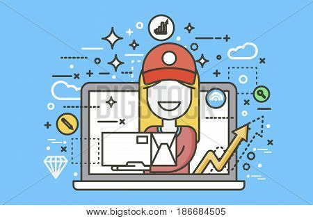Stock vector illustration peddler parcels carrier woman packaging box in hand design, element for delivery service business, discount online order, booking management line art blue background icon