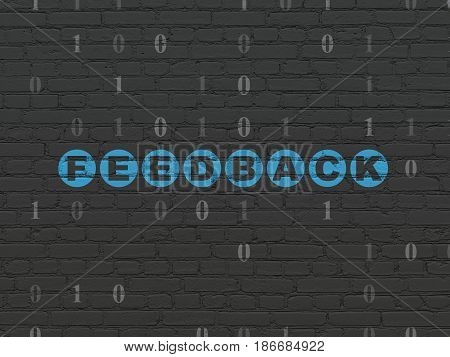 Finance concept: Painted blue text Feedback on Black Brick wall background with Binary Code