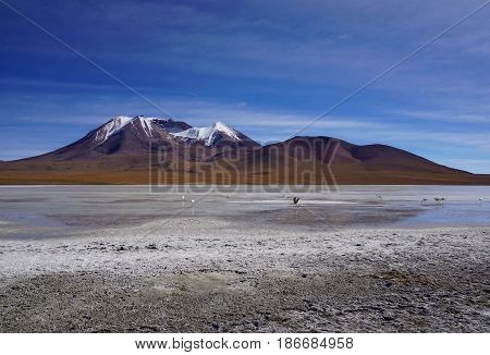 Mountain Landscape in Bolivia.  Lonely mountain in the middle of nowhere with watery field of nothing in the foreground and blue skies