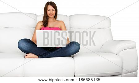 Sofa laptop internet surfing young woman browsing surfing the web isolated