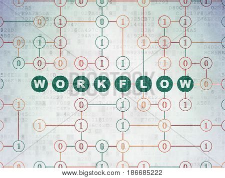 Business concept: Painted green text Workflow on Digital Data Paper background with Binary Code