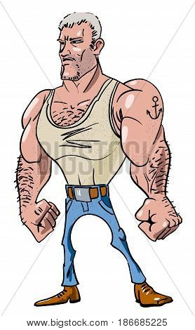 Cartoon image of tough man. An artistic freehand picture.