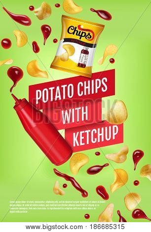 Potato chips ads. Vector realistic illustration with potato chips with ketchup. Vertical poster with product.