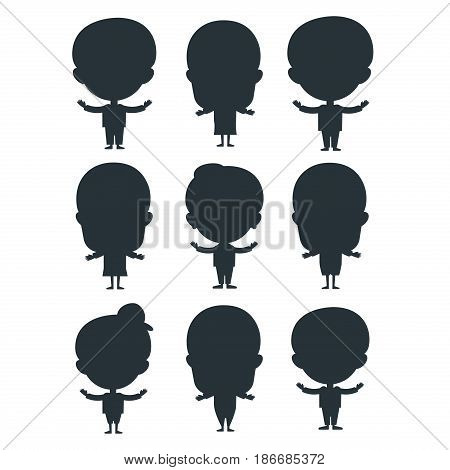 Kids silhouette portrait fun happy boy young expression cute teenager cartoon character little kid flat human cheerful joy casual childhood life vector illustration. Adorable preschooler male.