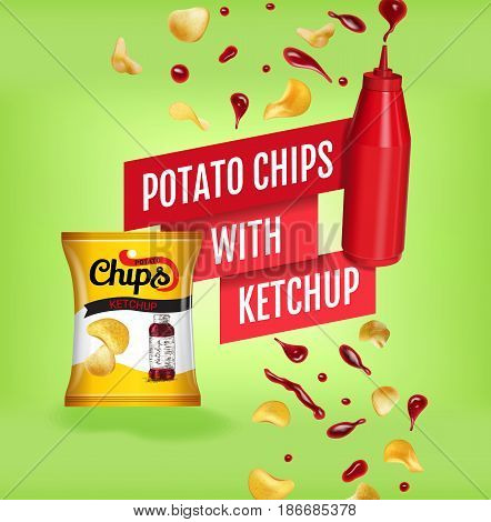 Potato chips ads. Vector realistic illustration with potato chips with ketchup. Poster with product.