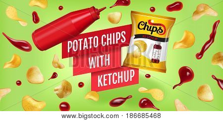Potato chips ads. Vector realistic illustration of potato chips with ketchup. Horizontal banner with product.