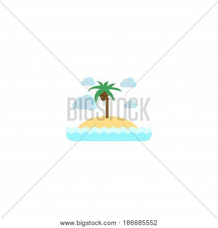 Flat Island Element. Vector Illustration Of Flat Isle Beach Isolated On Clean Background. Can Be Used As Island, Isle And Beach Symbols.