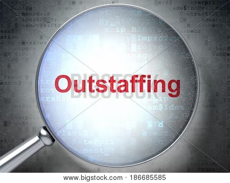 Business concept: magnifying optical glass with words Outstaffing on digital background, 3D rendering