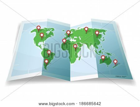 Illustration of a cartoon simple world map with pins and location