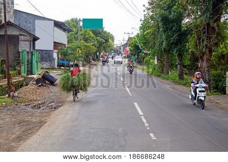Street view on East Java in Indonesia Asia