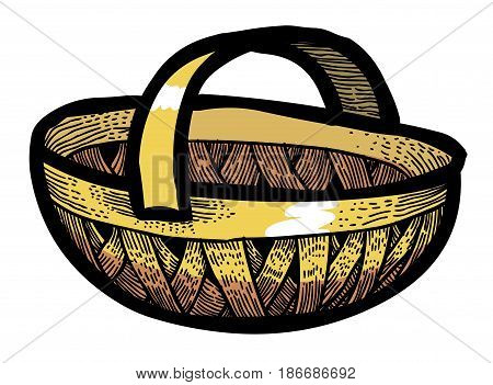 Cartoon image of Basket Icon. Basket symbol. An artistic freehand picture.