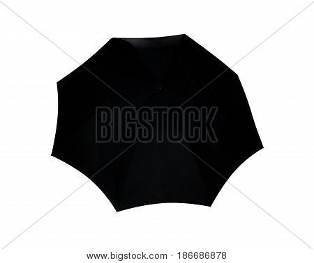 Umbrella black isolated on white background, object of protection against rain