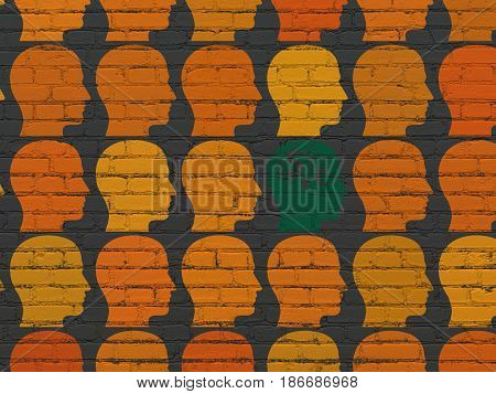 Finance concept: rows of Painted orange head icons around green head with finance symbol icon on Black Brick wall background