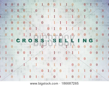 Finance concept: Painted green text Cross-Selling on Digital Data Paper background with Binary Code