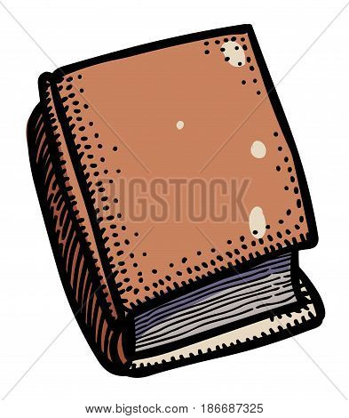 Cartoon image of Book Icon. Book symbol. An artistic freehand picture.