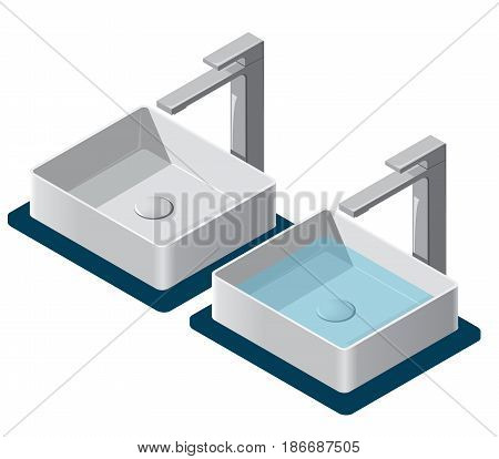 Bathroom sinks on white background. Isometric basin with tap and water. Kitchen interior info graphic element. Illustration household article. Pictogram domestic cleaner set. Isolated master vector.