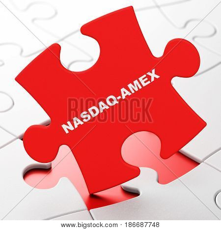 Stock market indexes concept: NASDAQ-AMEX on Red puzzle pieces background, 3D rendering