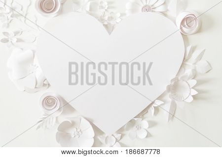 Heart Frame With White Paper Flower