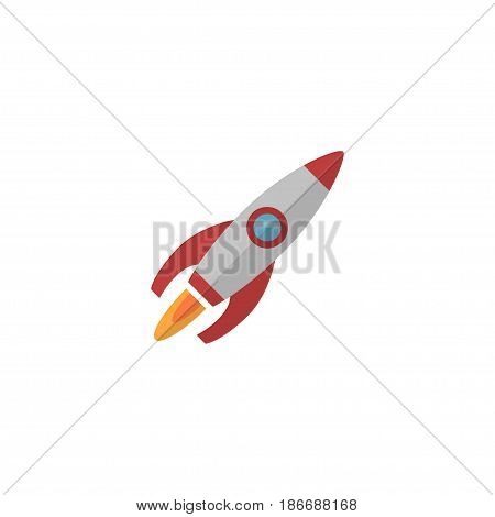 Flat Launch Element. Vector Illustration Of Flat Rocket Isolated On Clean Background. Can Be Used As Rocket, Launch And Run Symbols.