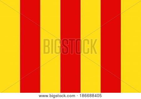 Flag of Foix is a commune and Prefecture of the Ariege department in southwestern France in the Occitanie region. Vector illustration