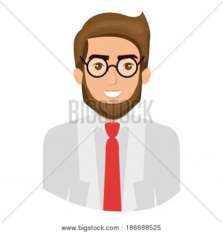 colorful portrait half body of man with beard and glasses and formal suit vector illustration