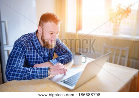 Close Up Of Executive Business Man With Laptop Working Concentrated