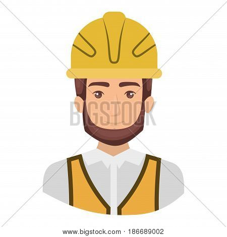 colorful portrait half body of male bearded architect with helmet vector illustration
