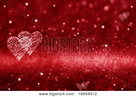 rood hart ruimte voor liefde, klaar ontwerp voor huidige Geschenkenkaart, glitter achtergrond