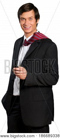 Man suit and tie business attire businessman management smart phone cell phone