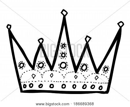 Cartoon image of Crown Icon. Crown symbol. An artistic freehand picture.