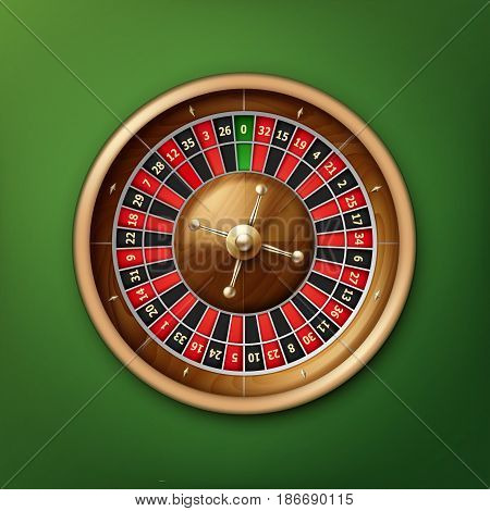 Vector realistic casino roulette wheel top view isolated on green poker table