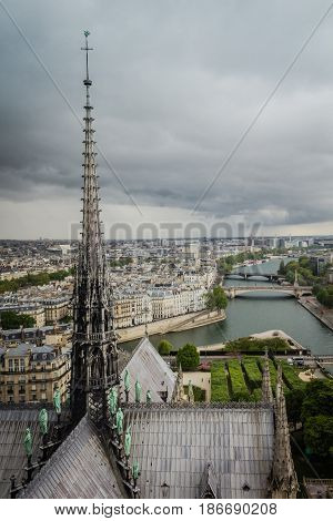 View from roof of Notre-Dame de Paris in cloudy day of spring 2017.