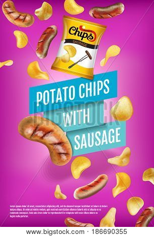 Potato chips ads. Vector realistic illustration with potato chips with sausage. Vertical poster with product.