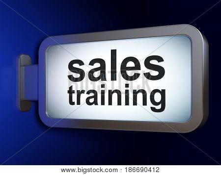 Advertising concept: Sales Training on advertising billboard background, 3D rendering