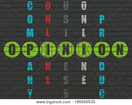 Marketing concept: Painted green word Opinion in solving Crossword Puzzle