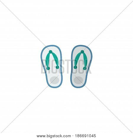 Flat Flip Flop Element. Vector Illustration Of Flat Slippers Isolated On Clean Background. Can Be Used As Slippers, Flip And Flop Symbols.