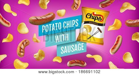 Potato chips ads. Vector realistic illustration of potato chips with sausage. Horizontal banner with product.