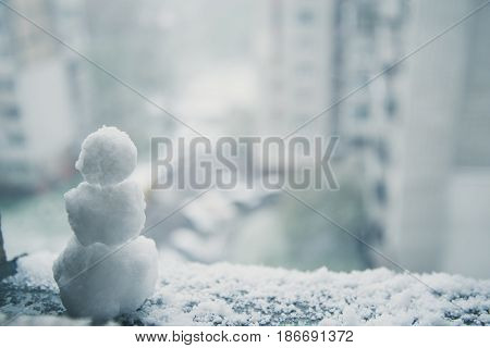 snowman at april day anomaly spring weather