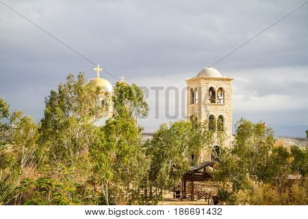 Qasr el Yahud or Al-Maghtas, The Greek Orthodox St. John the Baptist Church on the bank of the Jordan, view from the side of Israel