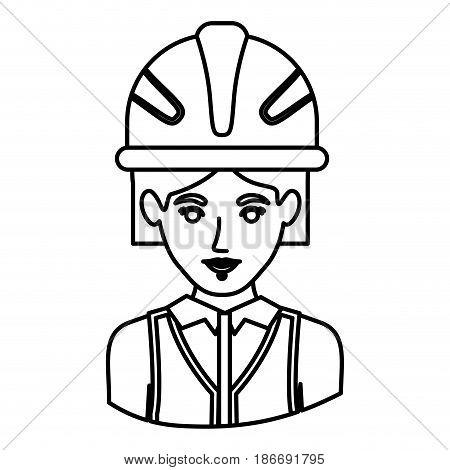 monochrome contour half body of female architect with helmet vector illustration